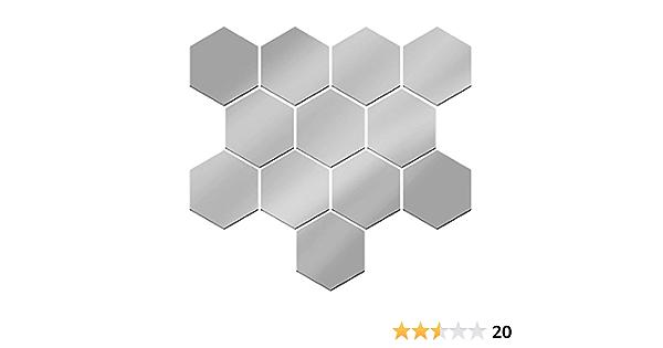 Argent/é 100 * 85 * 50 BONMW Combinaison Hexagonale Stickers Muraux en Miroir Motif G/éom/étrique 3D DIY St/ér/éo Amovible D/écoration de Maison en Acrylique