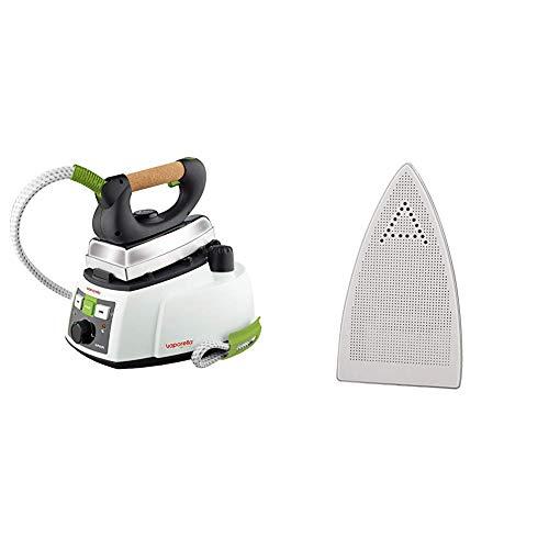 Polti Vaporella 535 Eco Pro Centro de planchado a vapor, 4 bar presión, 1750 W, 0.9 Litros, Función ECO, Aluminio + PAEU0200 Plantilla Teflon anti brillos Vaporella para planchas profesionales