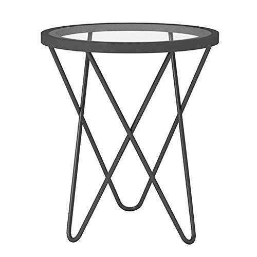 Canapé de Salon côté/Coin A Few/Simple Petite Table à thé Moderne, Table Basse en Verre créatif en Fer forgé Petite Table Ronde dorée Noir (47 × 47 × 62cm)