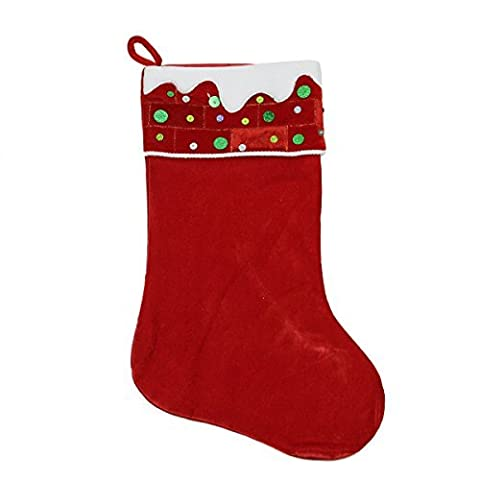 24 Large Red and White Sequined Velveteen Christmas Stocking by