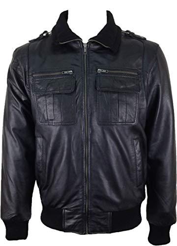 UNICORN Hommes le style de Bomber Réel en cuir Veste Noir #K3 Taille 44