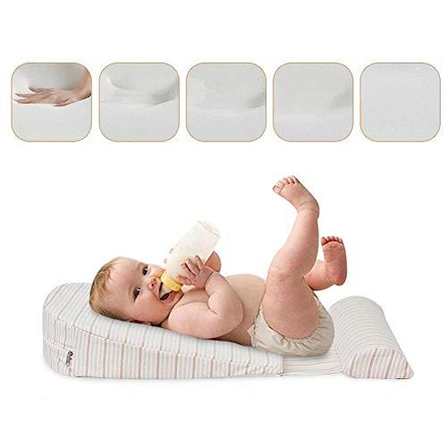 hifuture Universal Krippe Keilkissen für Babyfütterung Matratze Wasserdichte Schicht Handgefertigter Baumwolle Abnehmbarer Bezug 15 Grad Steigung für besseren Schlaf