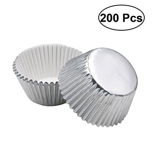 Bestonzon tazze da forno per muffin con torta addensata argento, lettere per cupcake con carta brillante a 200-count bright foil