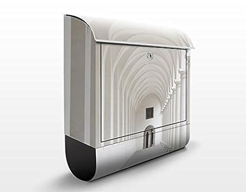 Design Briefkasten Arkaden | Tor Bogen Weiß Stein Mauer, Postkasten mit Zeitungsrolle, Wandbriefkasten, Mailbox, Letterbox, Briefkastenanlage, Dekorfolie