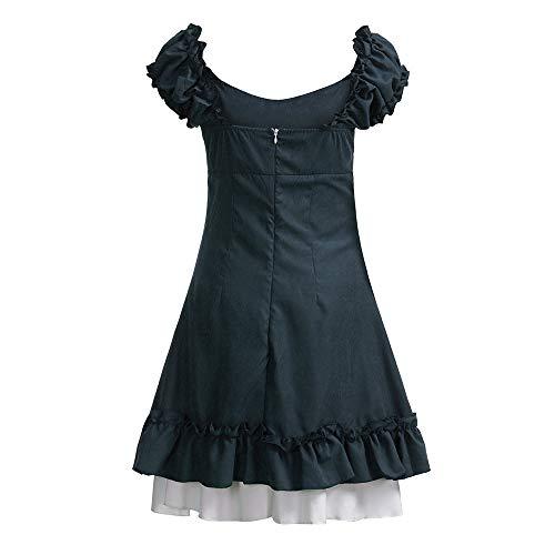 Übergröße Gefangener Damen Kostüm - SUMTTER Karneval Kostüm Vintage Damen Cosplay Kleid Cocktailkleid Lolita Kleid Kurzarm und quadratischen Kragen gekräuselten Schichten Gothic Lolita Kleid