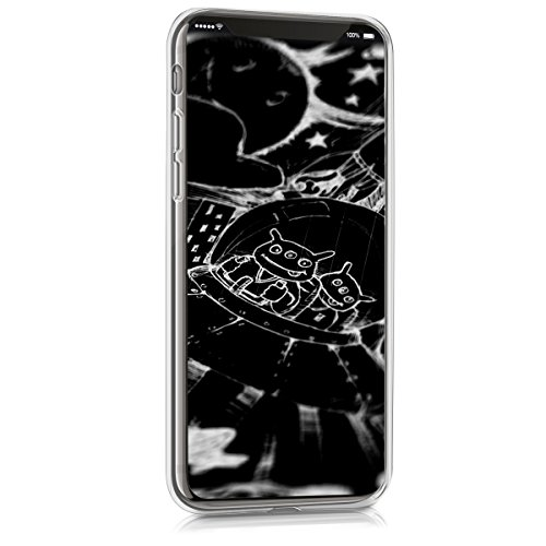 kwmobile Hülle für Apple iPhone X - TPU Silikon Backcover Case Handy Schutzhülle - Cover Schwarz matt Don't touch my Phone IMD Weiß Schwarz