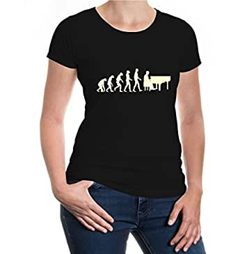 Girlie T-Shirt The Evolution of piano-XS-Black-Beige