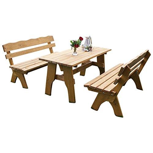 TPFGarden 3-teilige Garnitur / Gartenmöbel Set DRIEBURG aus Kiefer massiv 35mm | Holz von höchster Qualität | Garnitur: 2x Bank 3-sitzer, 1x Tisch 70cmx150cm rechteckig | Farbton:...
