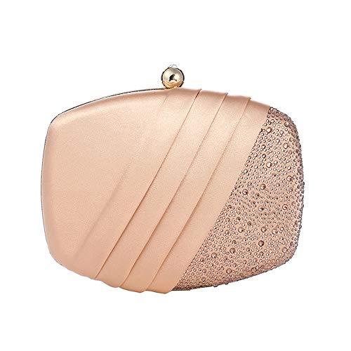 Plissee Strass (Nuanxin Feine Einfarbige Rosa Plissee Strass Abendkleid Clutch Bag Hochzeitskleid Bankett Tasche Kette Damen Handtasche Gemacht U10 (Farbe : Pink))