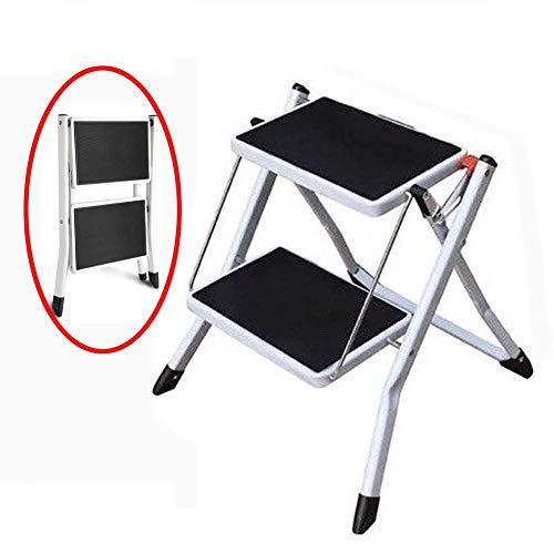 JYssdd 2 Stufenleiter Mini Klappstuhl Stahlleiter Heavy Duty Max 150kgs Kapazität mit breitem Anti-Rutsch-Pedal für Home Office Market Warehouse -