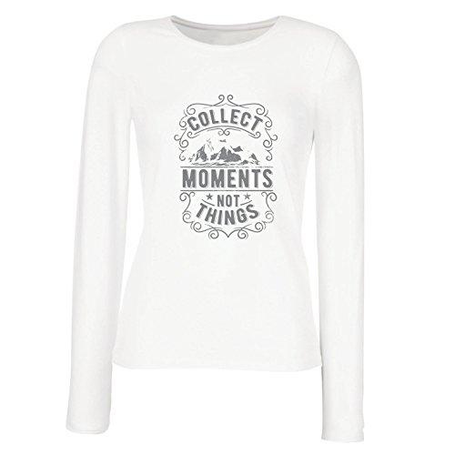 lepni.me Manches Longues Femme T-Shirt Citations D'Amant de Voyage d'inspiration, Rassemblent des Moments Pas des Choses, Énonciations Positives Pour des Vacances Blanc Multicolore