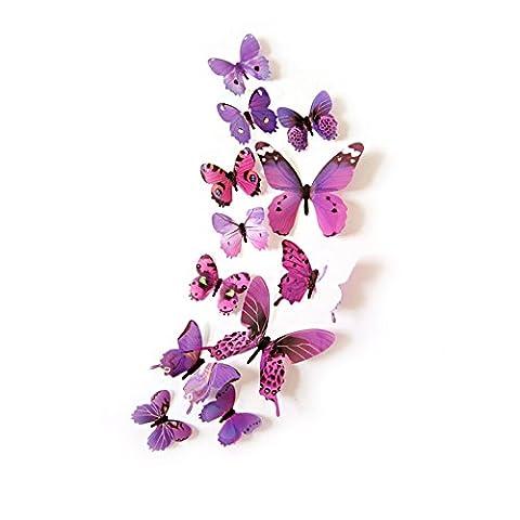Oblique-Unique® Deko Schmetterlinge 12er Set - wunderschöne farbenfrohe Dekoration - Wandtattoo