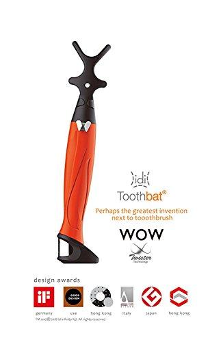 toothbat WOW Zahnseidenhalter für die perfekte Mund- und Zahnreinigung, Interdentalreinigung, Mundhygiene, Gesundheitspflege (Orange)