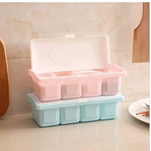 Gamloious Würzen Würze Box Kunststoff Gewürzregal Speicher-Behälter mit Löffel UK (Speicher-behälter-set Mit Deckel)
