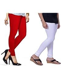Lux Lyra Women's Pack Of 2 Churidar Leggings-Red & White