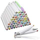 HLZDH 60 Couleurs Marker Pen marqueurs à Double Pointes, Marqueur Crayon Graphique Alcool Gras Art Deux Pointes 1mm / 6mm Pinceau Croquis Peints à la Main Huile