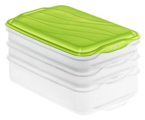 Rotho 1701906644 Aufbewahrungsbox, 3-teilig (1x 1.35 l + 2x 0.75 l), transparent/grün