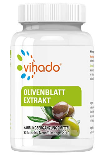 Vihado Olivenblatt-Extrakt hochdosiert, natürliches Oleuropein, vegan ohne Magnesiumstearat, 3-Monatspaket, 90 Kapseln