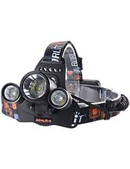 XCSOURCE® Lampe torche frontale à LED 3x CREE XM-L T6 LED 6000LM avec Zoom Lampe Phare Vélo Camping, Randonnée, Cyclisme Light + 2 X 18650 Batterie rechargeable + 1 Câble USB LD374