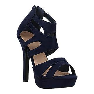 Stiefelparadies Damen Plateausandaletten Stilettos Cut-Outs Schuhe Sandaletten 172767 Dunkelblau Dunkelblau 37 Flandell