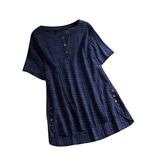 Gun Shooting Kostüm - iHENGH Damen Top Bluse Bequem Lässig Mode T-Shirt Blusen Frauen Kurzarm Kaftan Baggy Button Baumwolle Leinen Casual Tunika Bluse(Marine-2, M)