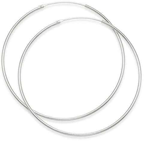 Sterling Silver Hoop Earrings - Size: 50mm x 1.2mm. 6250
