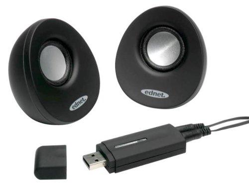 EDNET USB 2.0 Lautsprecher schwarz USB Full Range USB-Anschluss 2x1 Watt Full Range Usb