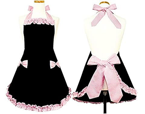 Hyzrz Hot Cute Black and Pink Bowknot Retro Dress Clothing Cook Cotton Apron Dress Pattern gifts