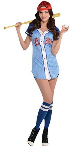Zauberclown - Damen Baseball Babe Karneval Komplett Kostüm , Hellblau, Größe (Halloween Baseball Sexy Kostüme)