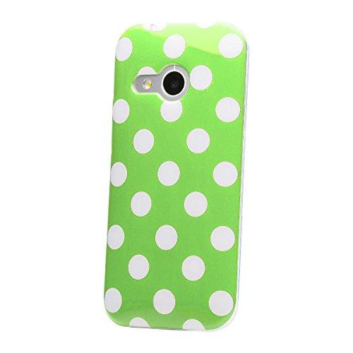 iCues HTC One Mini 2 - M8 Mini |  Polka Dots TPU Case Grün | [Display Schutzfolie Inklusive] Damen Frauen Mädchen Silikon Gel Motiv Muster Schutzhülle Hülle Cover Schutz