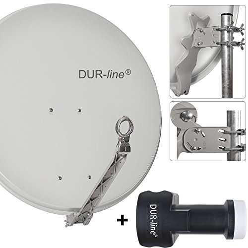 "DUR-line 8 Teilnehmer Set - Qualitäts-Alu-Sat-Anlage ""DVB-T2 Alternative"" ""DVB-T2 Alternative"" - Select 75/80cm Spiegel/Schüssel Hellgrau + DUR-line Octo LNB - Satelliten-Komplettanlage - für 8 Receiver/TV [Neuste Technik - DVB-S/S2, Full HD, 4K/UHD, 3D]"