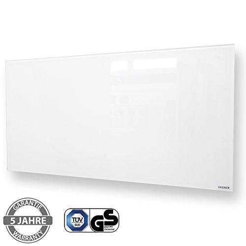 VASNER Citara Glas Infrarotheizung 900 Watt weiß 62x122cm, Wandmontage mit Sicherheitshalterung und Sicherheitsglas, Glasheizung Flächenheizung Elektroheizung