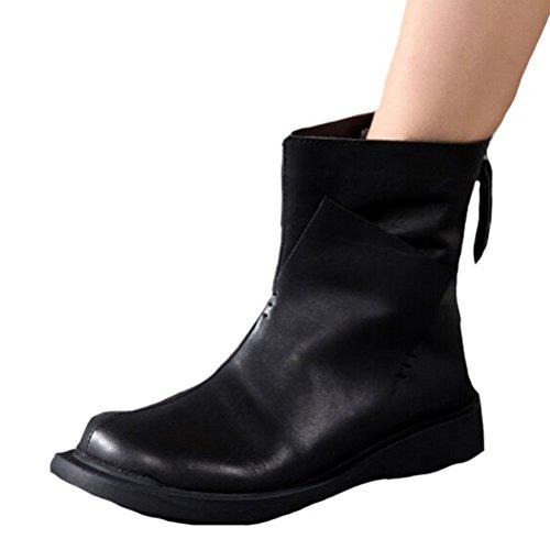 Voguees Bottes D'éQuitation En Cuir Pour Femme Avec Zip ArrièRe Style-1 Noir