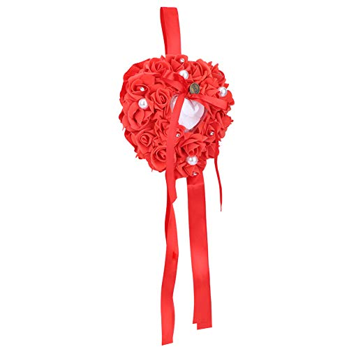 Yosoo Boîte d'anneau alliances 15x13cm en forme de rose romantique blanc aider à marier écrin élégant avec la lunaire Accessoire de bijoux de mariage (rouge)