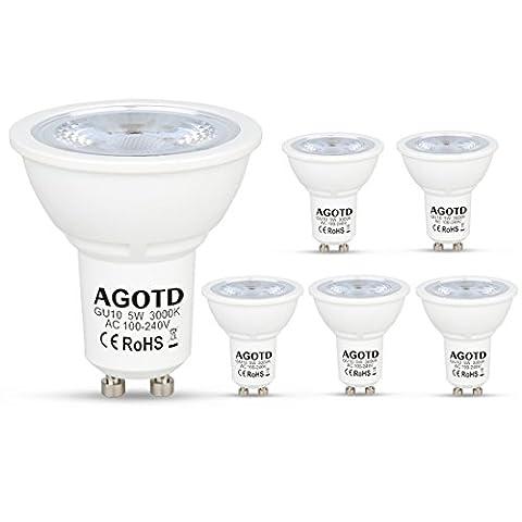 AGOTD GU10 LED Bulbs, 5W Cob Led, 35W 40W Halogen Bulb Replacements, 100V-240V AC, GU 10 Downlights Warm White, 400LM, Homebase Lighting Lamp, 38 degrees Spotlight, 6pcs pack
