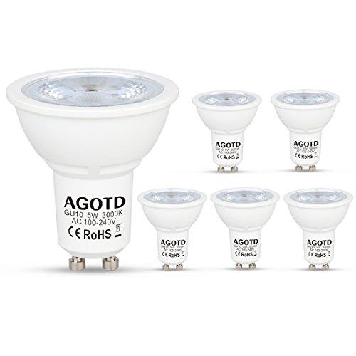 AGOTD GU10 LED 5 Watt Lampe 230V ,35W 40W Halogenlampen,400LM, GU 10 LED Warmweiß 3000k,LED Leuchtmittel,38 Grad,6er Pack