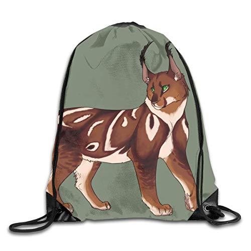GHMJVHFG Funny Art Caracal Vinyl Cat Drawstring Bag Stylish Cute Print Lightweight Sackpack Sport Gym Bundle Backpack Theme Novelty Outdoor Classic