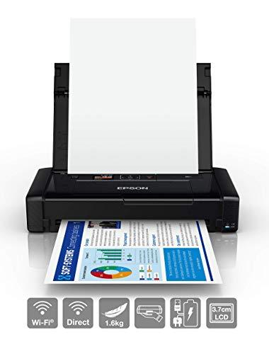 EPSON Workforce WF-110W Imprimante Portable Portable DIN A4 Jet d'encre (Impression Mobile, WiFi, WiFi Direct, USB, Batterie intégrée) Noir