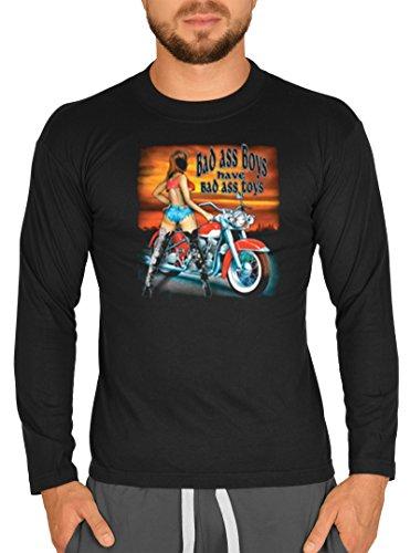 USA Biker Motiv Langarm T-Shirt Bad ass Boys… Bike Langarmshirt für Biker Rock Longshirt für Herren Männershirt Laiberl Leiberl Schwarz