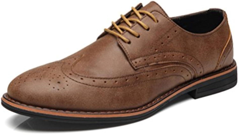 ZPFDY Hombre Inglaterra Four Seasons Retro Casual Negocios Boda Zapatos De Cuero De Encaje