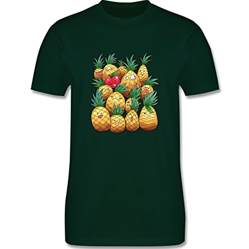 Comic Shirts - Süße Ananas Party - Herren Premium T-Shirt Dunkelgrün