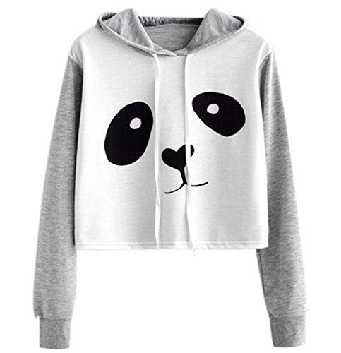 WOCACHI Hoodies, Damen Panda gedruckt Langarm Patchwork Crop Bluse Sweatshirt … (Applique T-shirt)