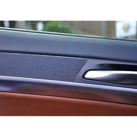 Listelli decorativi 12pezzi in alluminio spazzolato nero Look, spessore 100µm adatto per veicolo per listelli portiere, cruscotto, posacenere, colore