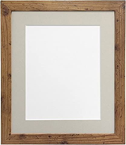 25mm wide H7 Rustic Oak Picture Photo Frame with Light Grey Mount 24