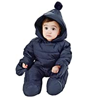WYTbaby Baby Hooded Romper Newborn Snowsuit Infant Onesies Jumpsuit Winter Outfits Zipper Front 3-6 Months, Dark Blue