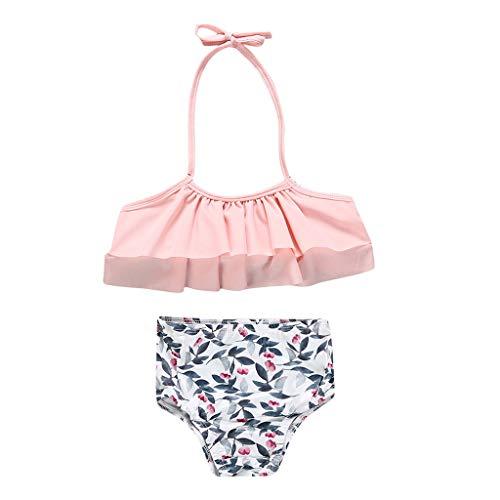 Theshy Uv Jugend Kind Kinder Baby Badeanzug MäDchen Schwimmanzug KostüM Bademode Swimwear Push Up Bikini Blattdruck Weste Sommer Outfits (Feine Weste Frauen Gurt)