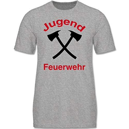 Feuerwehr Kind - Jugend Feuerwehr - 122-128 (7-8 Jahre) - Grau meliert - F140K - Jungen T-Shirt