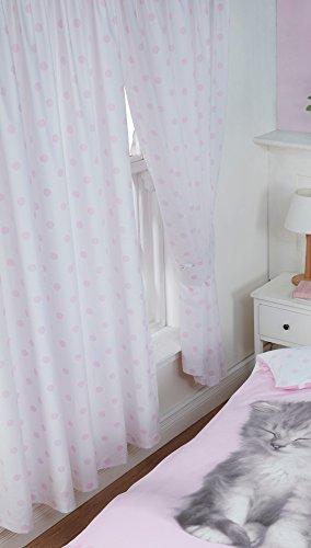 Rachael hale 167,6x 182,9cm tende plissettate misty & mac, pois rosa bianco, coppia di tende con fermatende abbinati