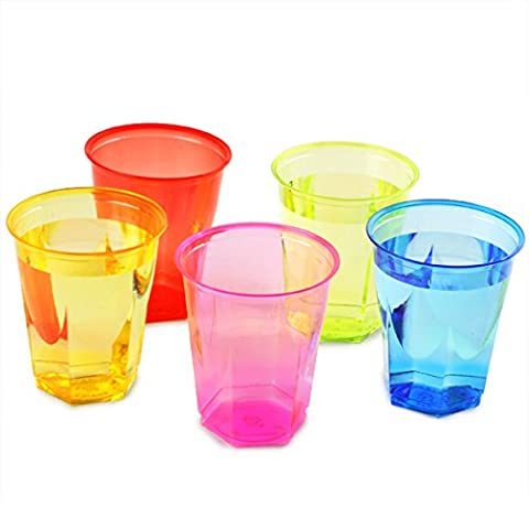 Crystal Rainbow Disposable Party Cups 8.8oz / 250ml - Set of 50 Plastic Cups, Polystyrene Cups