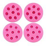 BESTONZON Lot de 4 moules en Silicone 8 Compartment Blueberry Mulberry Shaped Moule à gâteau pour décoration (Rose)